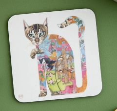 'Cat Licking its Paw' Coaster