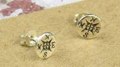 'Not all those who wander. .' Compass Earrings